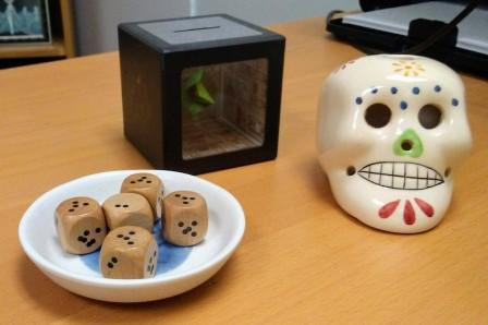 dice and skull